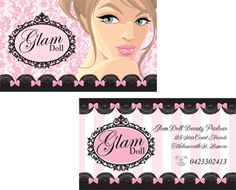 Glam Doll Custom Business Card Design for Beauty Salon and Make Up Artist