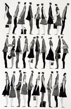 Fashion Illustration 行く手 (To the Future) - Tetsuo Aoki Architecture People, Architecture Graphics, Sketches Of People, Drawing People, People Drawings, Illustration Design Graphique, Paper Illustration, Art Postal, Davidson Galleries