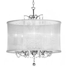 Radionic Hi Tech Vanessa 5 Light Polished Chrome Maple Droplets Crystal Chandelier With White Organza