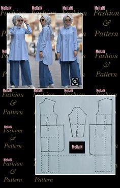 Abaya Pattern, Tunic Pattern, Pants Pattern, Dress Sewing Patterns, Blouse Patterns, Clothing Patterns, Dress Muslim Modern, Kebaya Dress, Fashion Design Drawings