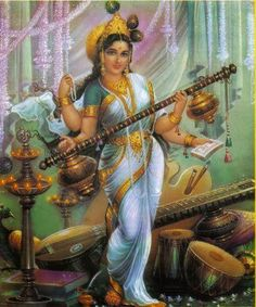 "Maa Saraswati or Devi Sarasvati is the goddess of knowledge, music and the arts. She is the consort of Lord Brahma. Goddess Saraswati is considered to be the ""mother of the Vedas"""
