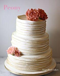Peony and Frill Wedding Cake