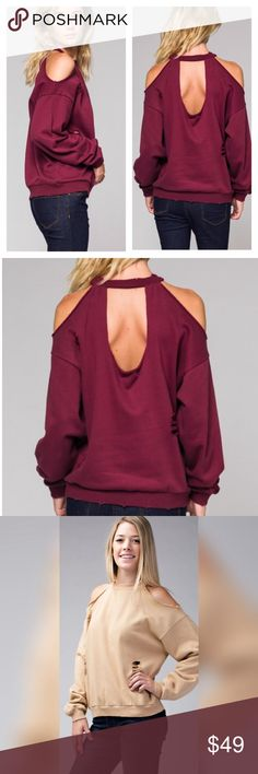 Shredded Cold Shoulder Sweater in Wine! 100% Cotton Sweater with trendy Cold Shoulder & Back Cut out detail!  This listing is for the Wine Color.  The other photos show the cut out details on the front of the sweater!  This is a pre-order item and will be ready to ship on November 6th!  ❤️ Boutique Sweaters Crew & Scoop Necks