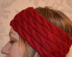 Woollen Hand Knitted HEADBAND earwarmer Cable Knit in dark red colour, UK Seller