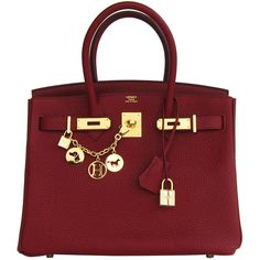 Pre-owned Hermes Rouge H 30cm Birkin Gold Hardware GHW Red Regal ($21,550) ❤ liked on Polyvore featuring bags, handbags, purses, bolsas, hermes, handbags and purses, hermes birkin bags, top handle bags, red top handle bag and man bag