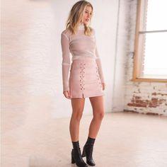 Fashion Side Lace Up Short Bodycon Split Skirt