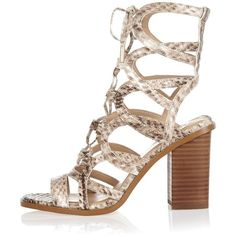 River Island Beige snake print caged block heel sandals ($116) ❤ liked on Polyvore featuring shoes, sandals, cream, high heel sandals, chunky sandals, snakeskin sandals, color block sandals and beige sandals