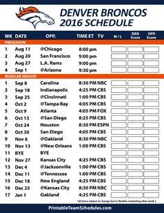 Denver Broncos Football Schedule. Print Schedule Here - http://printableteamschedules.com/NFL/denverbroncosschedule.php