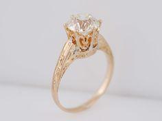 Antique Engagement Ring Art Deco 1.74ct Old European Cut Diamond in Vintage 14k Yellow Gold. Minneapolis, MN.
