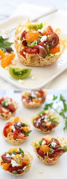 Individual cheese cups of a bright and tangy tomato salad for brunch on foodiecrush.com