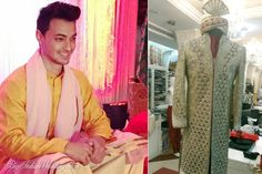 Ayush Sharma the groom getting ready for the Wedding ceremony Groomsmen Shoes, Achkan, Groom Getting Ready, Couture Jackets, Sherwani, Bollywood Actors, Men's Grooming, Celebs, Celebrities
