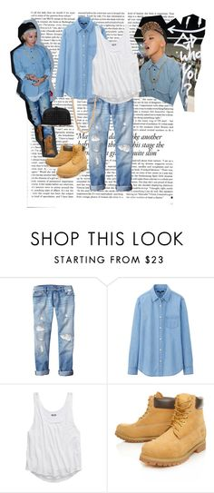 """Lets go Denim"" by killlerheels ❤ liked on Polyvore featuring Victoria Beckham, Gap, Uniqlo, American Eagle Outfitters, Timberland, Forever 21, denim, bigbang, timberland and gdragon"