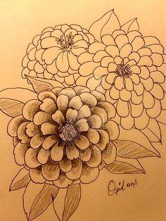 Zinnia Tattoo WIP Sketch by tifftoxic