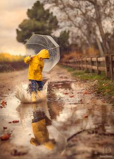 reflections - kids - rain - water