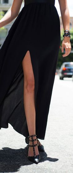 Street fashion for Fall...Valentino Black Studded Leather T-strap Pointy Toe Court Shoes