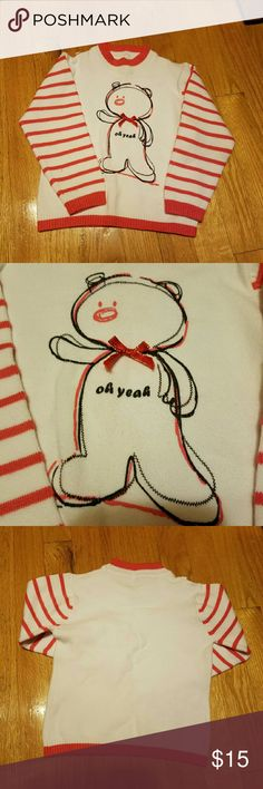 Oh Yeah Bear sweater Cute strip sleeve with oh yeah polar bear.  In new condition.  No flaws. Great holiday sweater. Shirts & Tops Sweaters