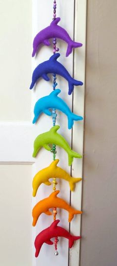 Rainbow dolphins to hang on the door Love Rainbow, Taste The Rainbow, Rainbow Art, Over The Rainbow, Rainbow Colors, Rainbow Stuff, Rainbow Things, All The Colors, Vibrant Colors