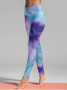 Ombre Tie-Dyed Yoga Leggings - COLORMIX M