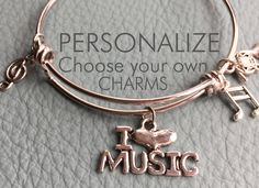 Music and Musical Instrument Customize Alex & Ani Inspired, Your Own Silver Bracelet, Charms, Personalized Gift, Piano Teacher, Band Mom by Arrimage on Etsy
