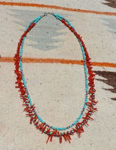 Mediterranean Coral and Kingman Turquoise 2-Strand Necklace by NativeAmericanBling on Etsy