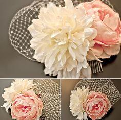 possible flower options for reception headpiece Diy Wedding Flowers, Wedding Veils, Our Wedding, Dream Wedding, Wedding Ideas, Bridal Headpieces, Bridal Hair, Fascinators, Flowers In Hair