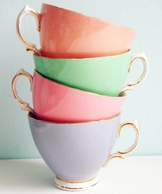 teacups in candy colours