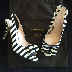 SALE❗️Brand New Kate Spade Heels So perfect and chic! Absolutely adorable and topped off with a bow and a 4 1/2 inch heel! Brand new and have never been worn, are in excellent condition, and have no scuffs or scratches. The shoes come with the Kate Spade dust bag and the original box. Feel free to make a reasonable offer. Retail for $328, 100% authentic. kate spade Shoes Heels
