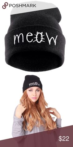 🆕 MEOW BLACK HAT 🆕 adorable meow black knitted beanie. Stay warm fashionable and meow at the guys in this oh so cute hat. Imported, 100% acrylic. Reasonable offers welcome, no trades. My environment is clean/organized/pet/smoke free. Please make any inquires, all sales are final on PM. Thank you for shopping my boutique. DARLING Accessories Hats
