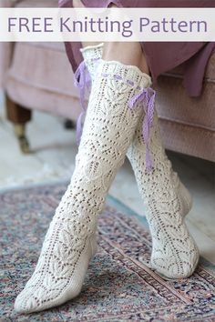 Free Knitting Pattern for Summerbride Lace Socks Gorgeous detailed lace calf high socks knit top down with heel flap. Eyelets in cuff for lacing ribbon. Designed by Novita. A kit is also available. Lace Knitting Stitches, Lace Knitting Patterns, Lace Patterns, Knitting Socks, Free Knitting, Baby Knitting, Knit Socks, Lace Socks, Ideas