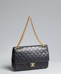 Chanel : black quilted leather 'Classic' shoulder bag