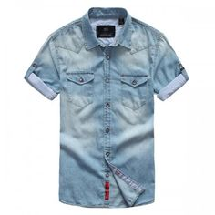 Chemise Homme Manches Courtes Denim Jean Fashion Urban outfit Men Bleu Clair