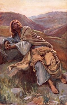 The Temptation of Christ by Harold Copping {c. early 1900's} ~ Jesus in the desert