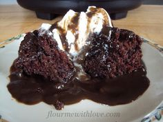 Chocolate Pudding Cake made in the slow cooker! #FlourMeWithLove #chocolate #pudding #cake