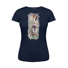 Women's Star Wars Princess Leia R2-D2 Watercolour tee at We Love Fine ⭐️ Star Wars fashion ⭐️ Geek Fashion ⭐️ Star Wars Style ⭐️ Geek Chic ⭐️