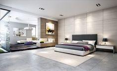 idées chambre à coucher moderne spacieuse en gris perle