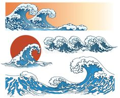Buy Waves in Japanese Style by on GraphicRiver. Waves in japanese style. Japan Illustration, Vague Illustration, Ocean Wave Drawing, Sea Drawing, Wave Art, Japanese Wave Painting, Japanese Artwork, No Wave, Japanese Background