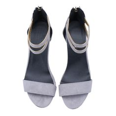 Grey Back Zipper Slingbacks High heeled Sandals ($25) ❤ liked on Polyvore featuring shoes, sandals, heels, flats, heeled sandals, high heel sandals, slingback sandals, back zip sandals and gray sandals