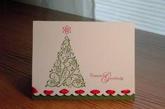 Threaded Christmas using Stampin Up Snow Swirled stamp set