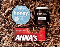 sweet gift box featuring honey chevre, inna jam and anna's thins