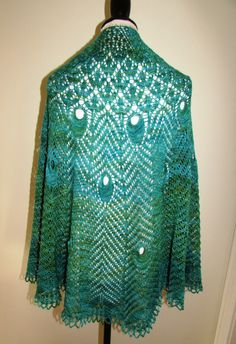 peacock feather shawl hand knit merino wool & silk by KatesGoodies