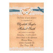 Luxury Lace Coral Ribbon Hearts Wedding Invite