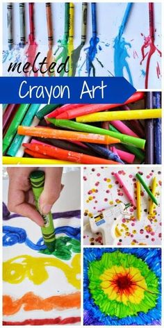 """Melted crayon art is the perfect way to use up old crayons and broken pieces. Plus, it's gorgeous!  I remember """"painting"""" with crayons on a warm skillet back in kindergarten, and I thought it was the"""