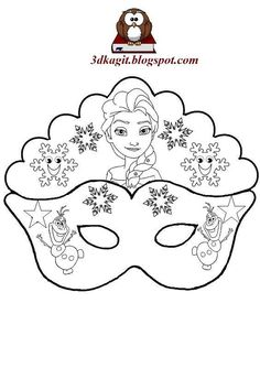 Elsa and Olaf: Free Printable Mask Template Elsa Frozen, Elsa Olaf, Carnival Crafts, Carnival Masks, Karneval Diy, Printable Animal Masks, Olaf Party, Mask Template, Mask For Kids