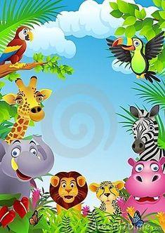 Illustration sur l& du dessin animé animal dans la jungle. Jungle Party, Jungle Theme Birthday, Safari Theme, Jungle Safari, Cartoon Sea Animals, Jungle Animals, Animals Crossing, Cartoon Download, Boarder Designs