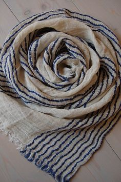 Natural LINEN Scarf, Soft Light Taupe and Blue Scarf, Striped Scarf by ROSALinen on Etsy https://www.etsy.com/listing/190360088/natural-linen-scarf-soft-light-taupe-and