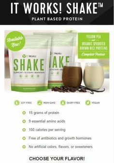 "The 100-calorie per serving It Works! Shake packs the punch of 15 grams of protein in a proprietary blend of Yellow Pea and Organic Sprouted Brown Rice proteins. This ""perfect protein"" blend contains a balanced amino acid profile with nine essential amino acids and an optimal concentration of branched-chain amino acids (BCAAs). So they're ready to go to work for your optimal health—encouraging lean muscle growth, supporting strength and power during exercise, sustaining your energy, and…"