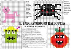 IL LABORATORIO IN PIXEL ART DI HALLOWEN CON STORIA, 4 PERSONAGGI ,SCENARIO E FILASTROCCHE Pixel Art, Occupational Therapy Activities, Art Projects, Coding, Grande, Holidays, Crochet, Paper, Home