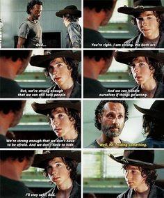 The Walking Dead season 5 - good scene with Rick & Carl Grimes.