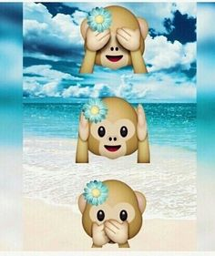 monkey, emoji, and beach image