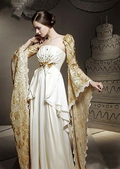 Check these sleeves. Definitely fit for a princess on a white-veil occasion. Beautiful Gowns, Beautiful Outfits, Fantasy Dress, Mode Inspiration, Dream Dress, Costume Design, Pretty Dresses, Designer Dresses, Ball Gowns